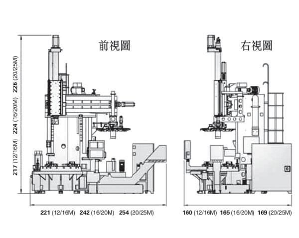 伍匠机械VTL-12/16M、VTL-16/20M系列机型三视图